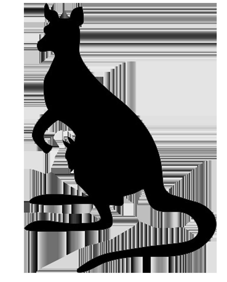 silhouette of kangaroo and baby kangaroo
