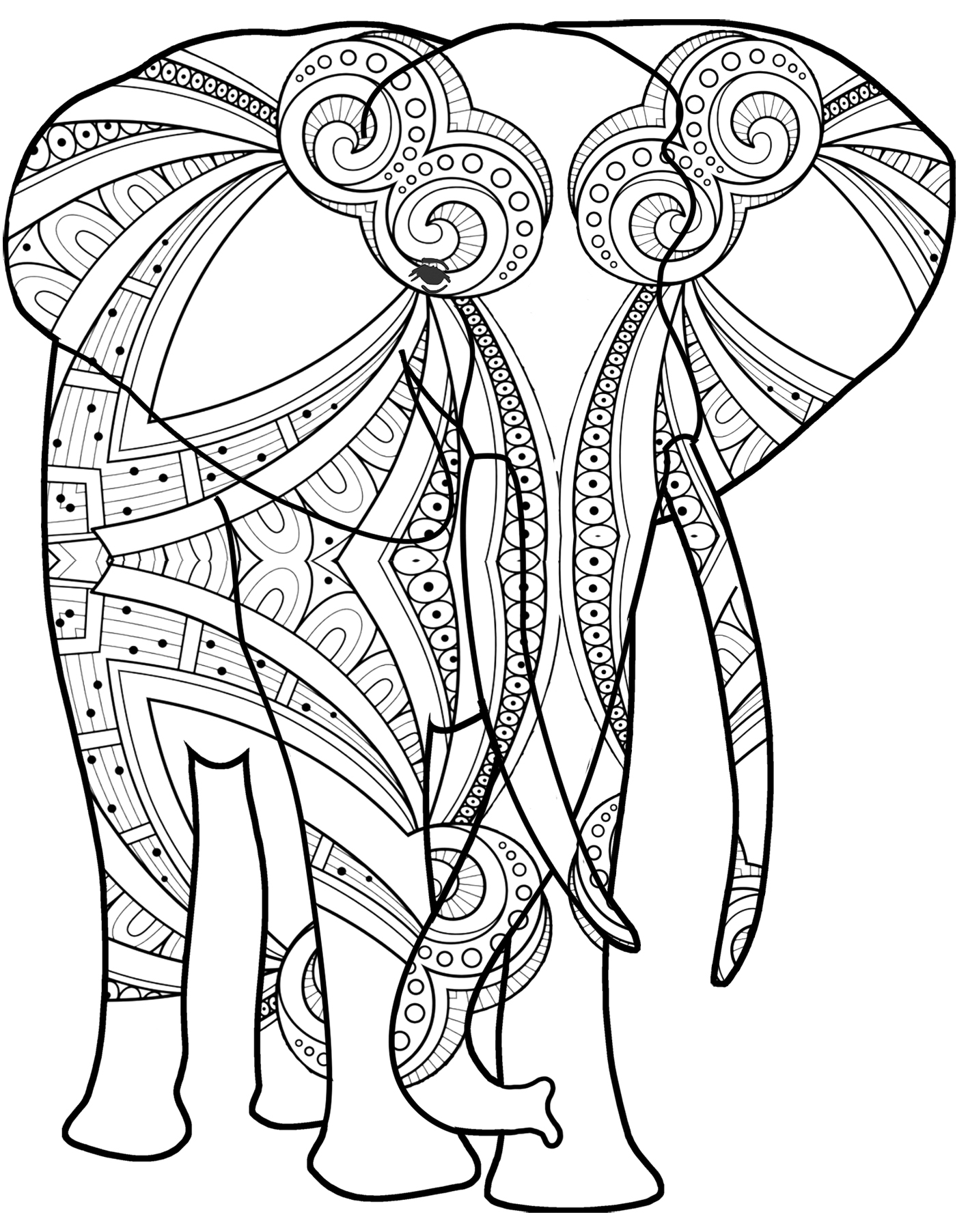 elephant drawing with pattern