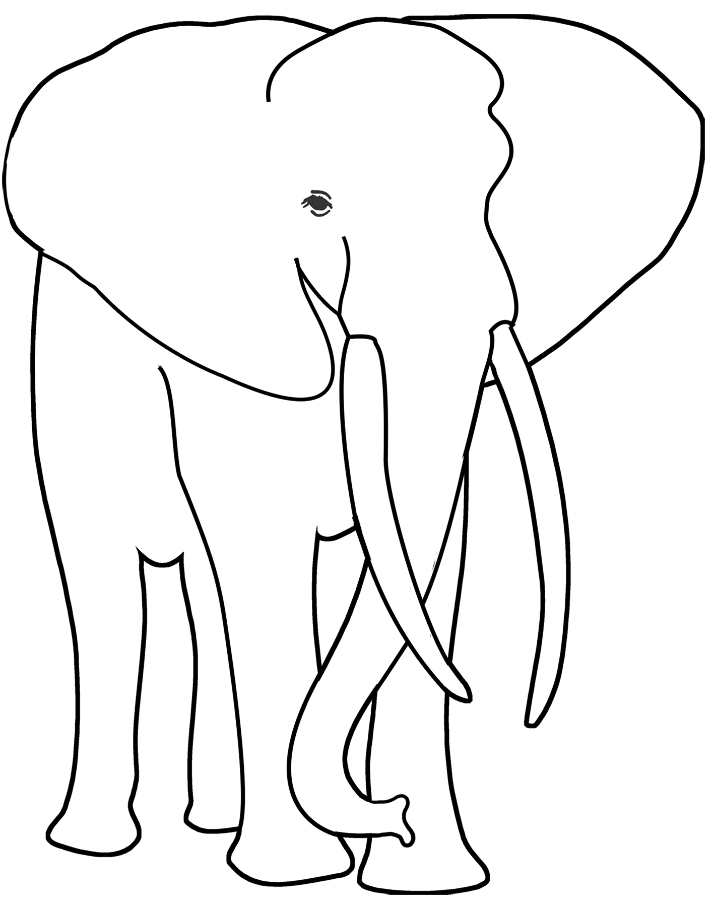 beautiful drawing of an elephant to color