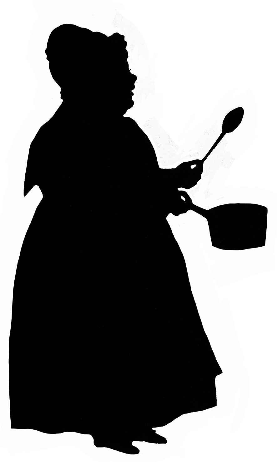 Silhouette of woman with pot and spoon
