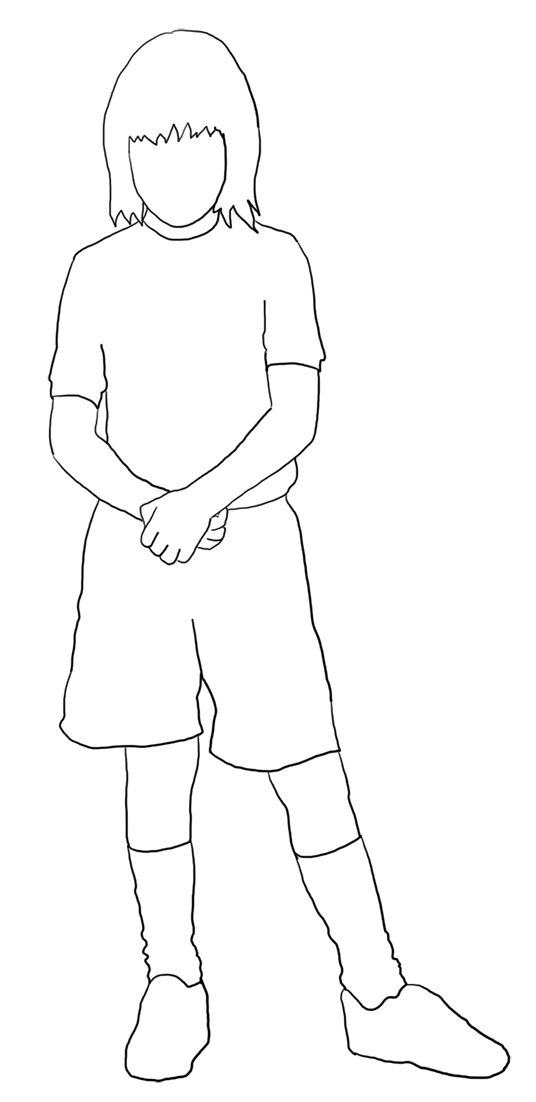 white-silhouette of girl in shorts