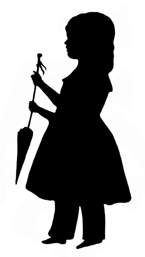 silhouette of little girl with parasol
