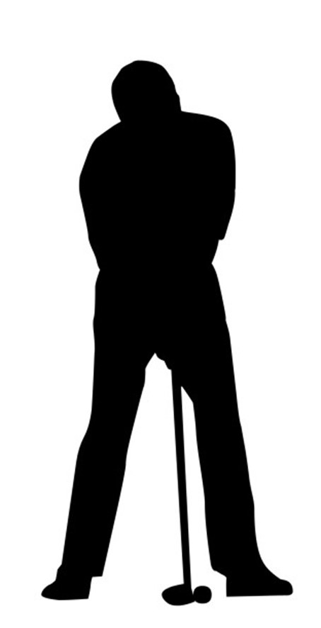 black silhouette of golf player