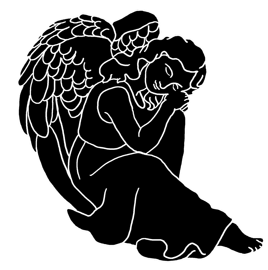 silhouette of resting angel