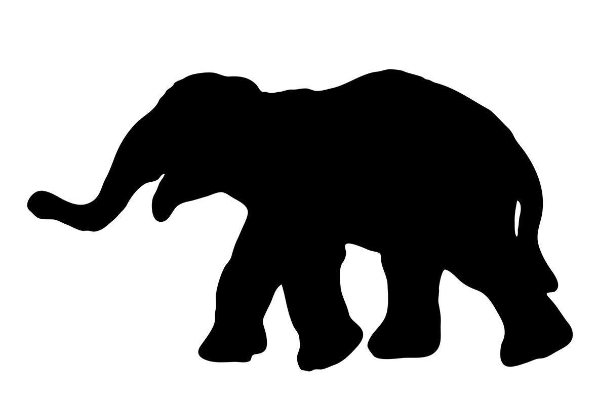 silhouette walking elephant
