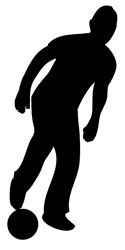 silhouette clipart boy with football