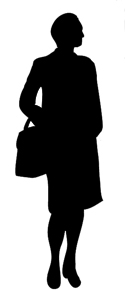 female silhouette with bag
