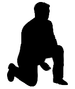 silhouette of man kneeling black