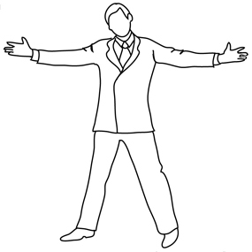 silhouette open positive man clipart