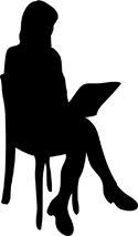 black silhouette of woman on chair with pc