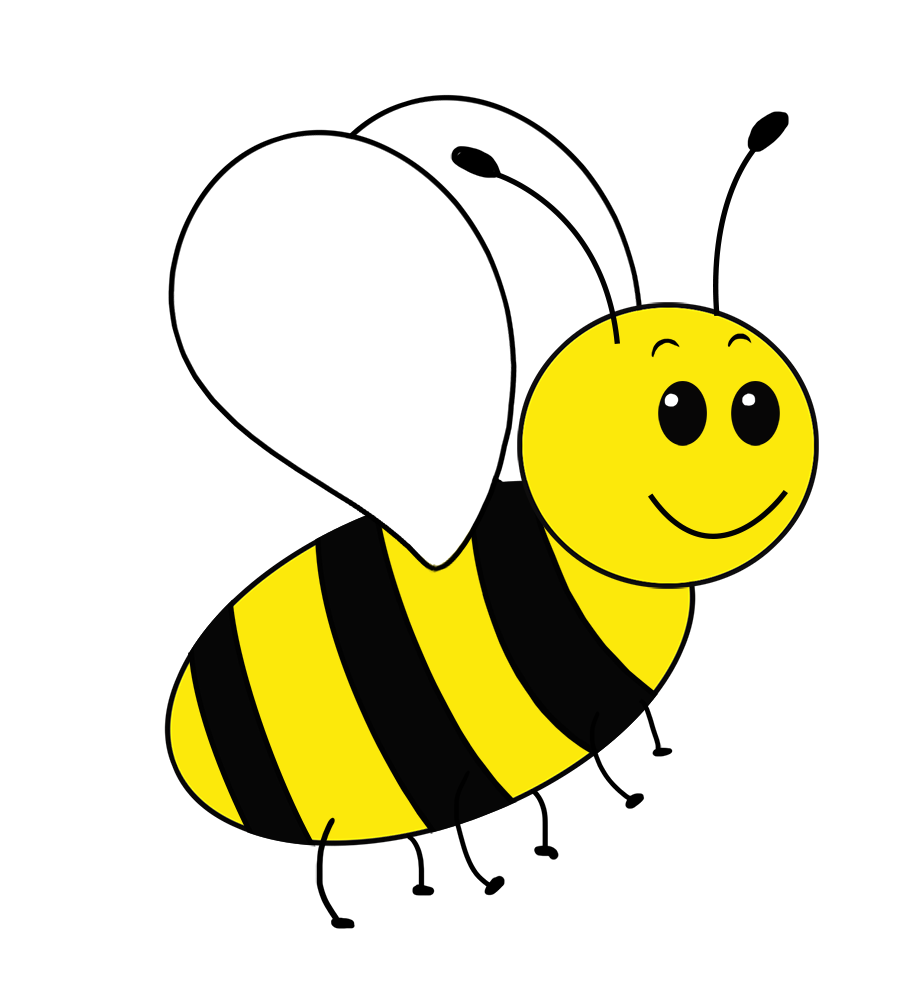 simple bee drawing PNG