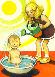 sister giving little brother a shower