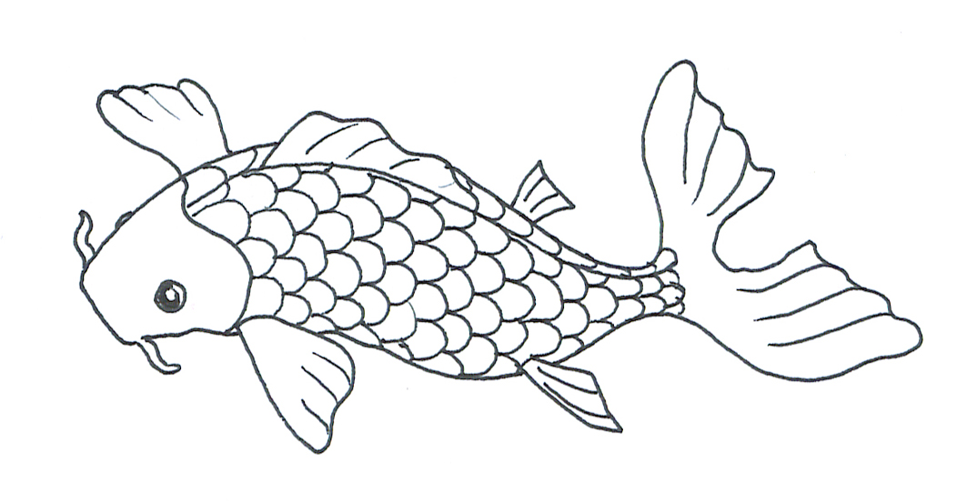 black white sketch of koi fish