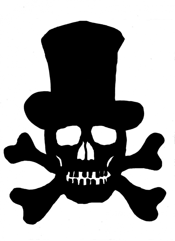 skull silhouette with top hat