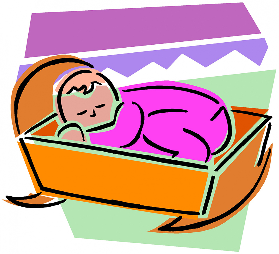 sleeping baby in cradle