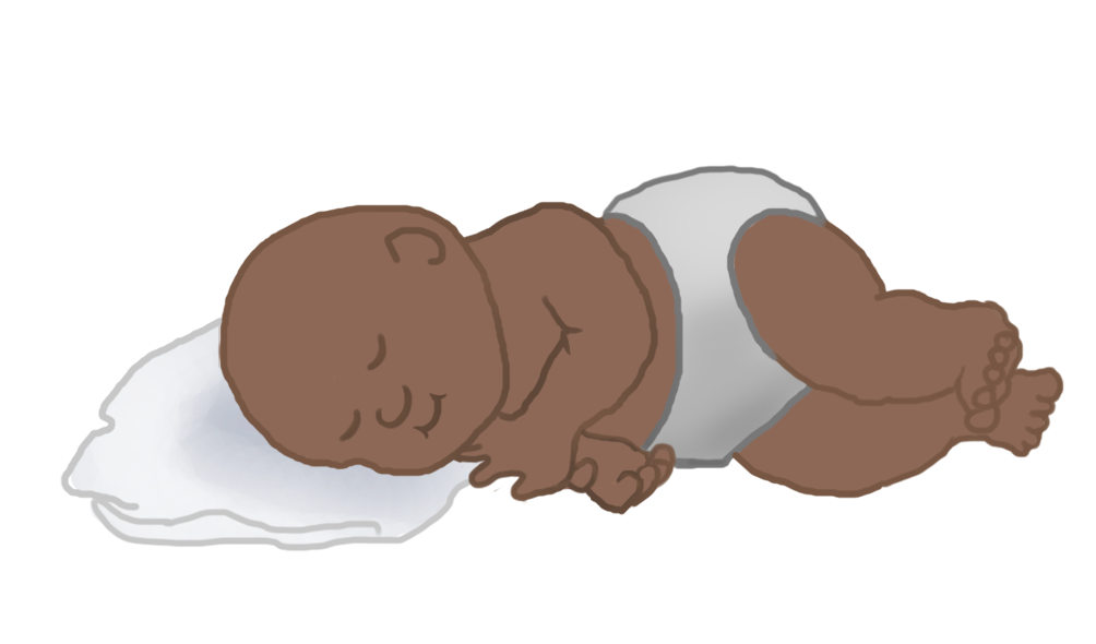 sleeping baby clipart on pillow no hair