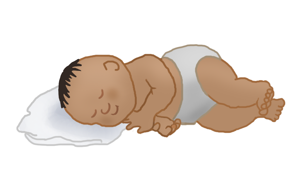 black haired baby sleeping clip art