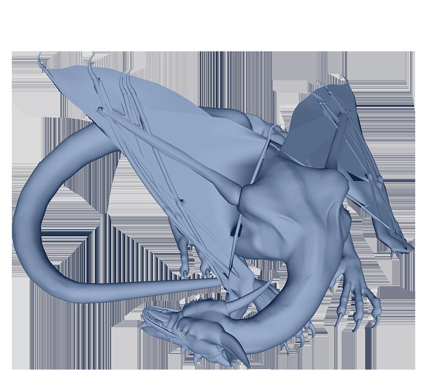 sleeping blue dragon