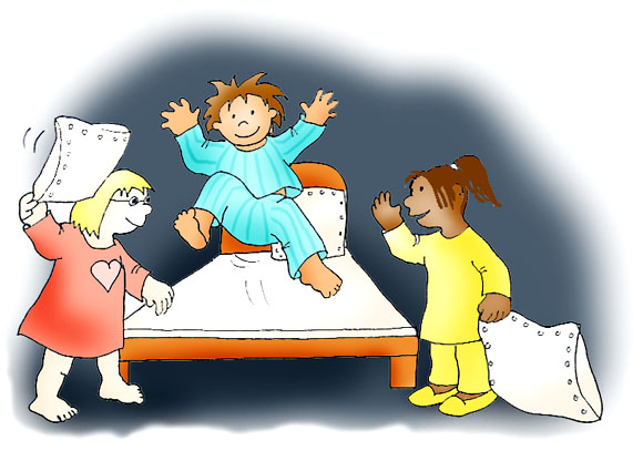 slumber party ideas pillow fight