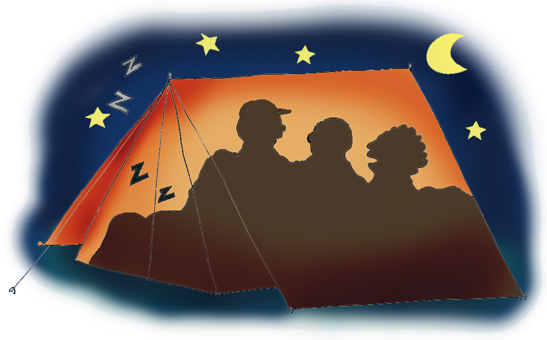 slumber party games tent at night