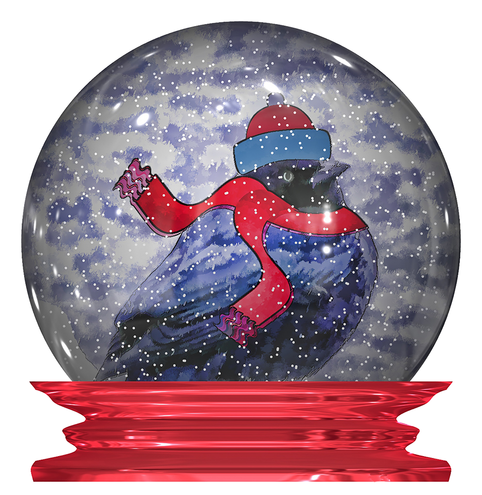 snow bird in a globe