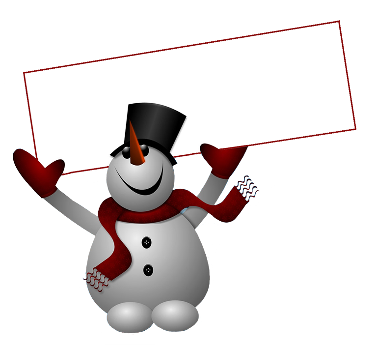 snowman with sign clip art