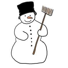 snowman with hat and broom