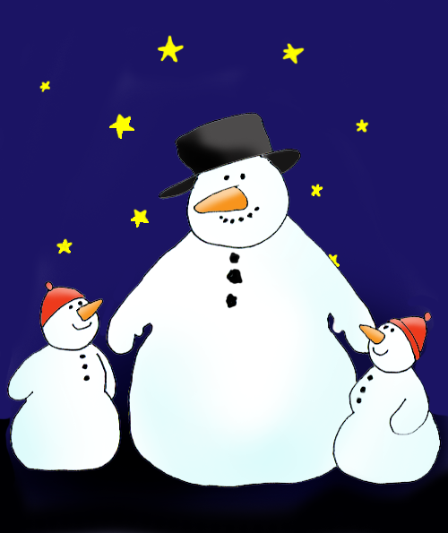snowman father and snowman kids