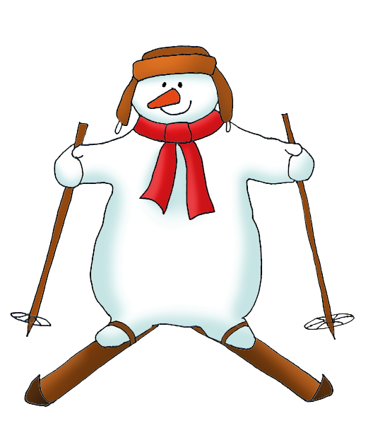 snowman on skis clipart