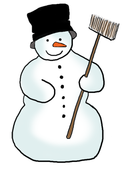 snowman with carrot hat and broom
