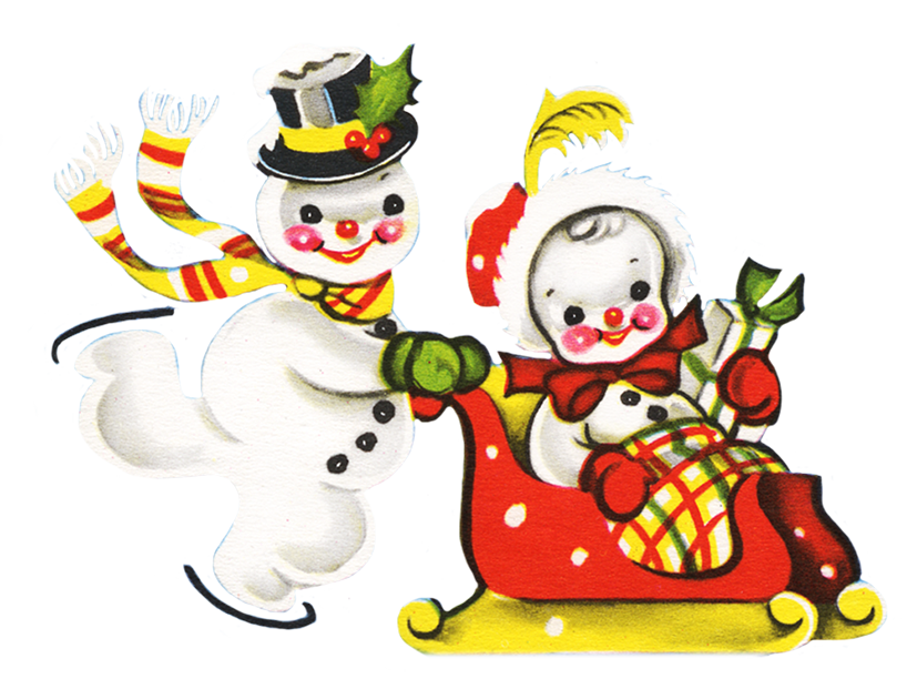 Two snowmen at Christmas