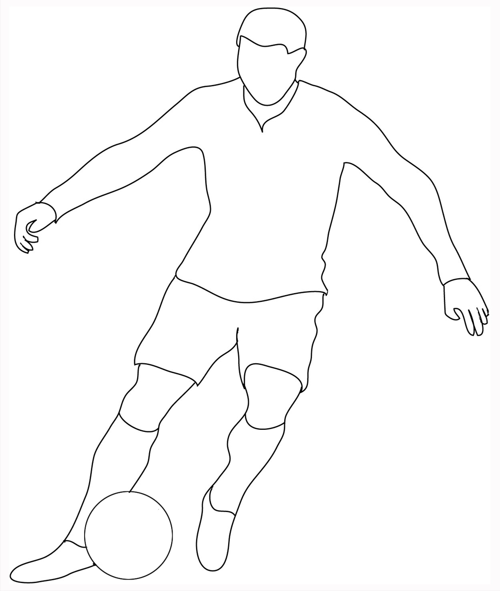 frontal view soccer player sketch