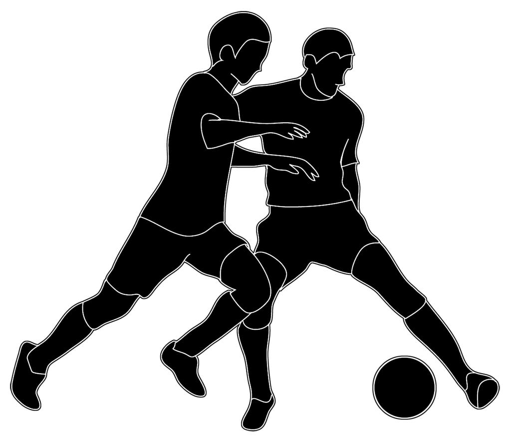 silhouette of people soccer