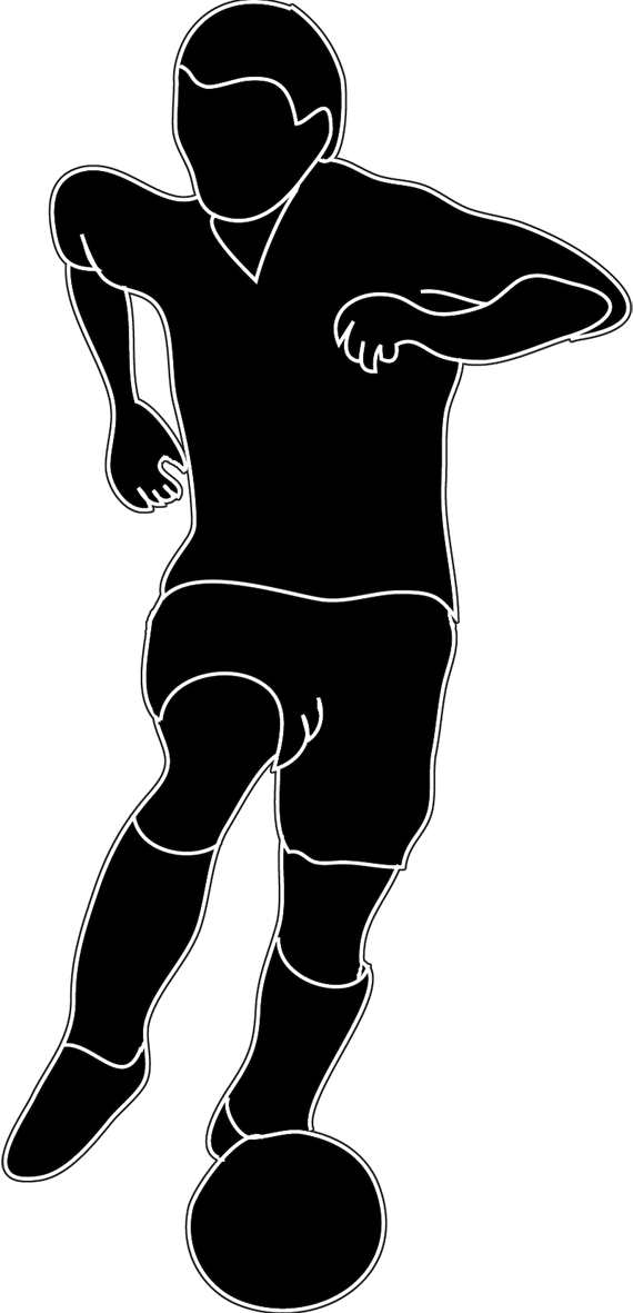 soccer player silhouette with ball