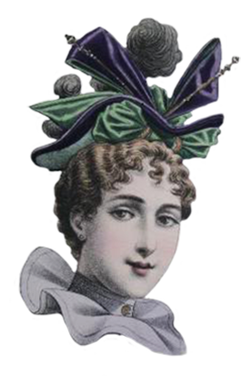 soft colored fashion sketch of Victorian hat