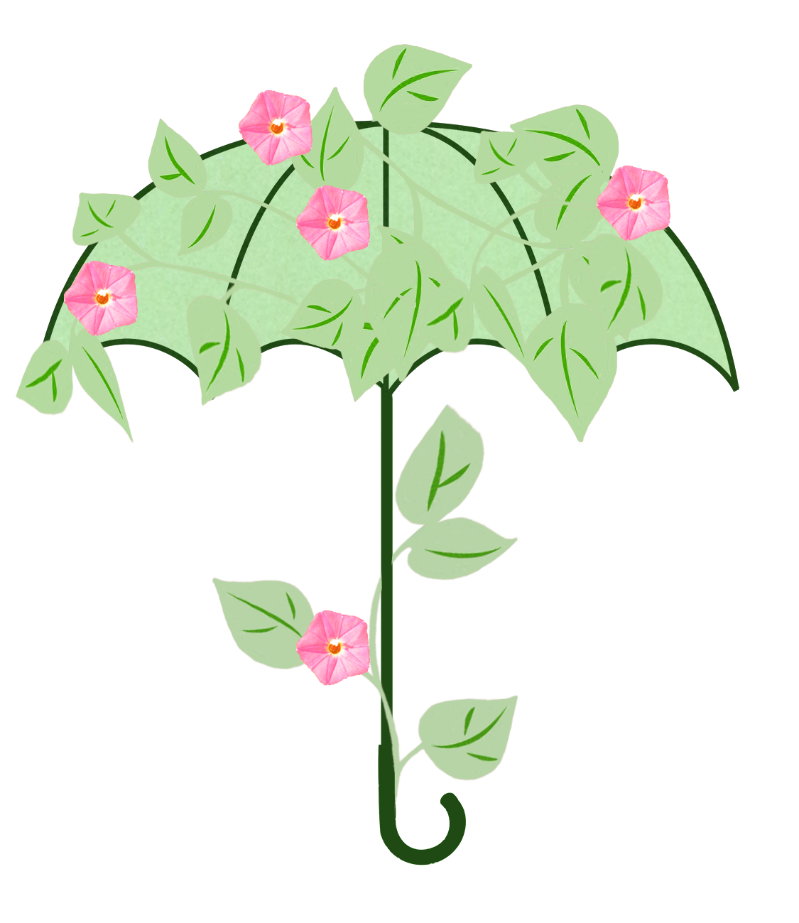 spring umbrella with leaves and flowers