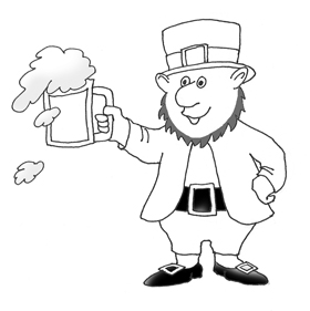 Sketch leprechaun with beer