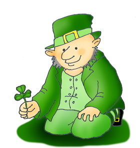 Leprechaun st. patricks Day with shamrock