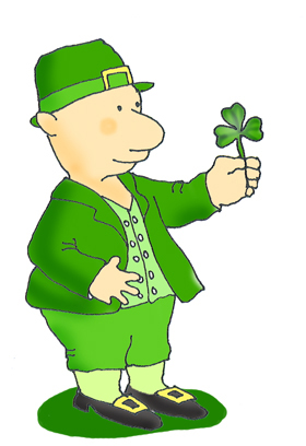Young leprechaun with shamrock