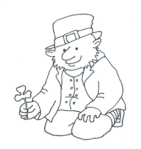 sketch of leprechaun shamrock