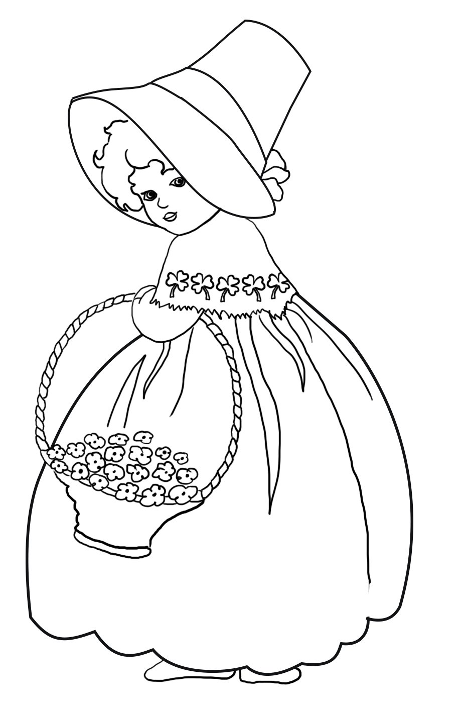 Girl with flowers and shamrock pattern for St. Patrick