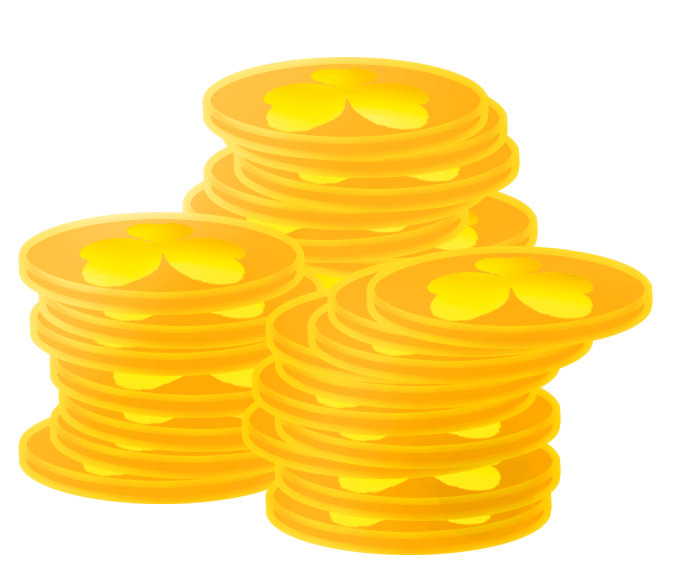 stack of golden coins with shamrock