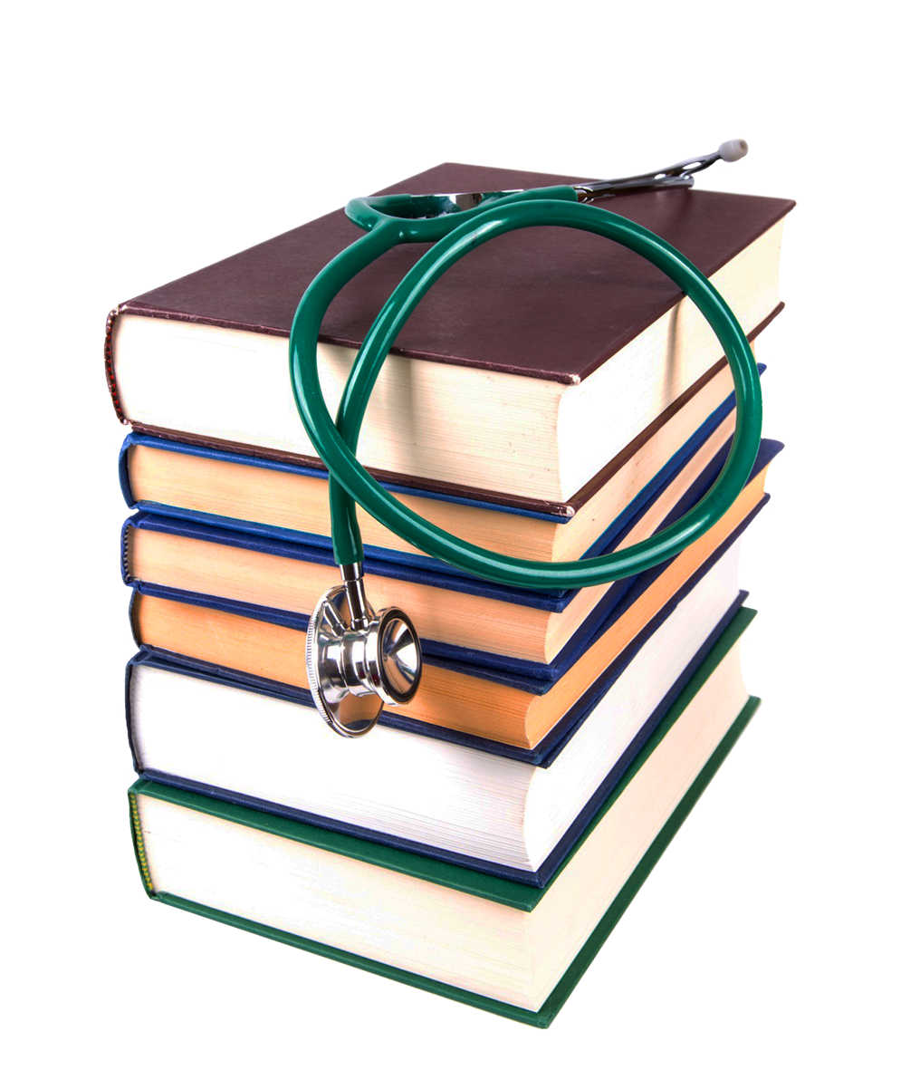 stacked books and stethoscope