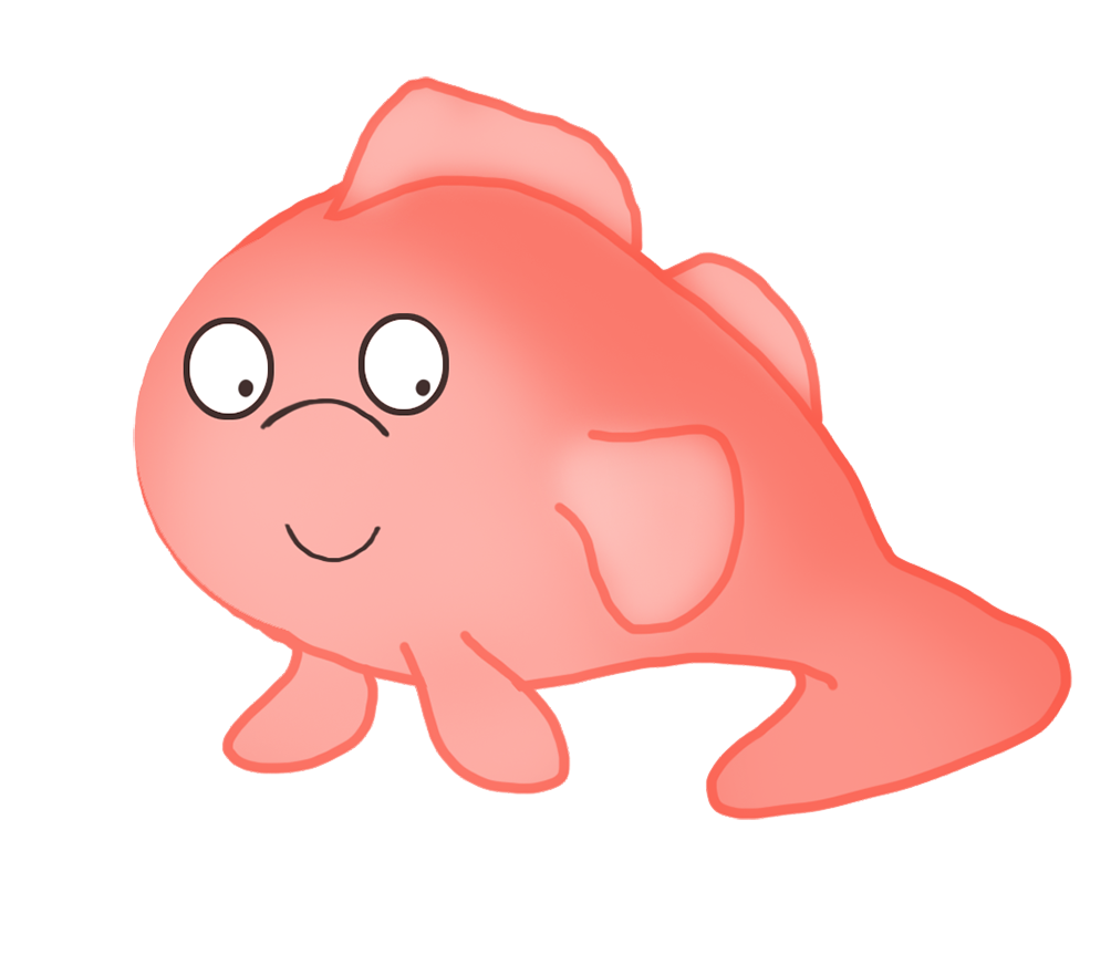strange red cartoon fish