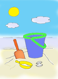bucket and spade beach sun holiday