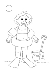 summer clip art girl ready for swimming