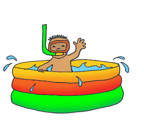 child in wading pool clipart