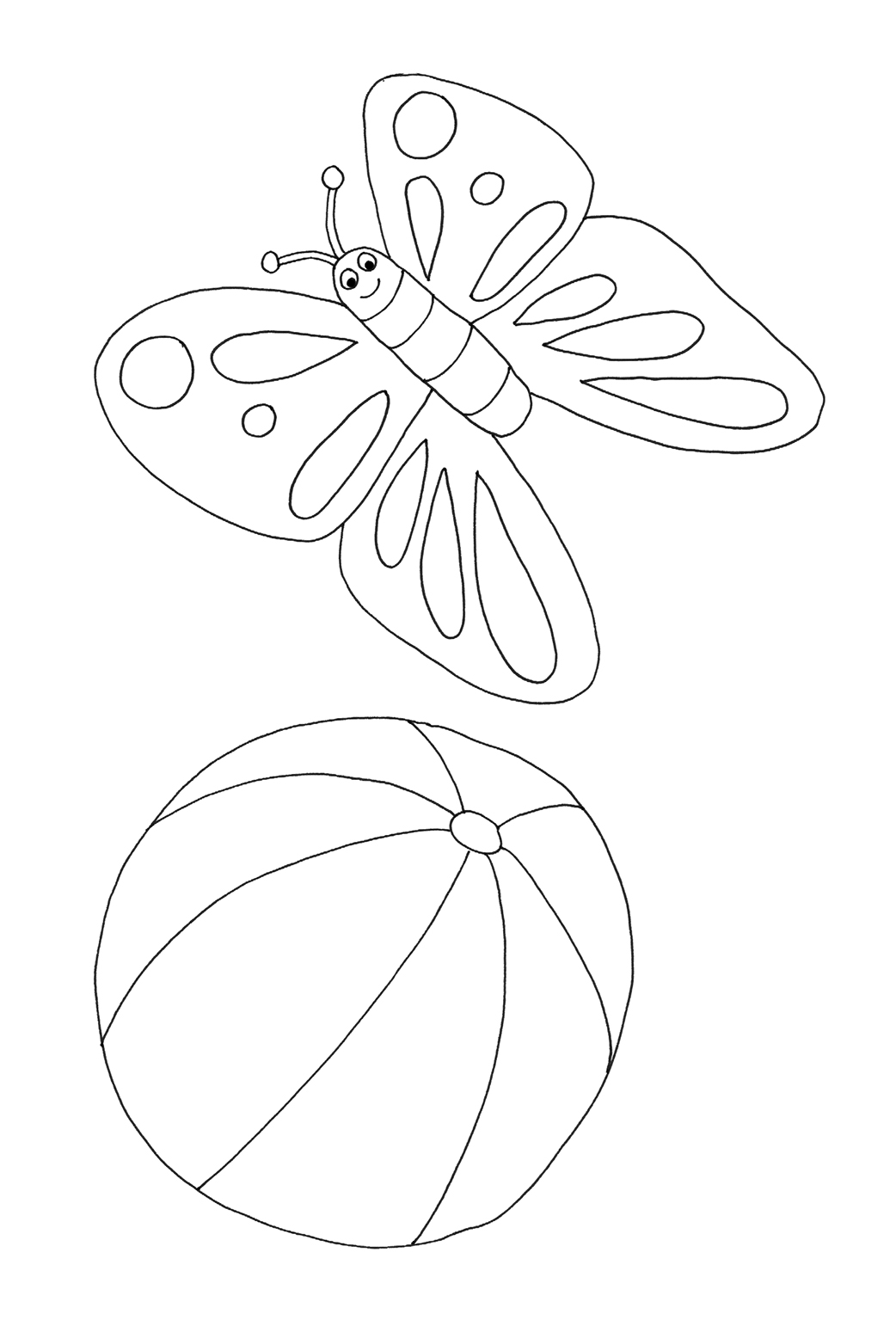 Printable coloring pages for kids butterfly ball