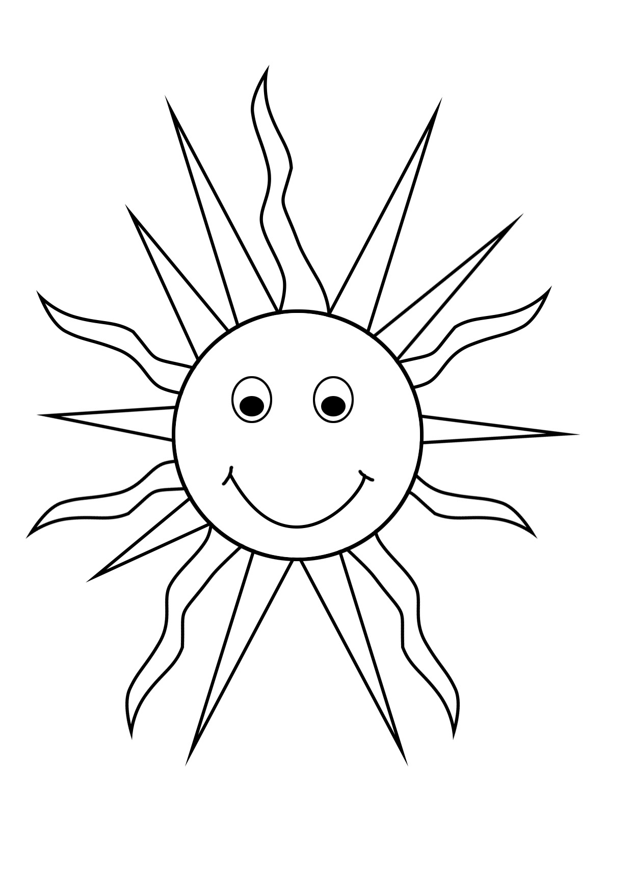 happy sun coloring sheet summer coloring pages - Sun Coloring Page