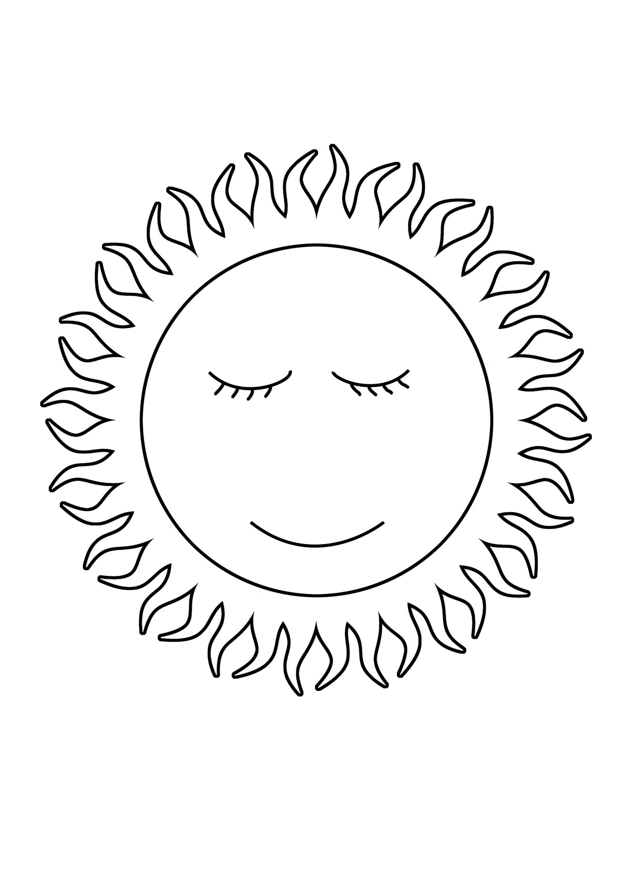sun coloring sheet cute sun